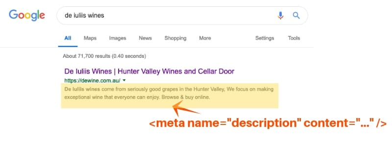 example of meta description for on-page seo
